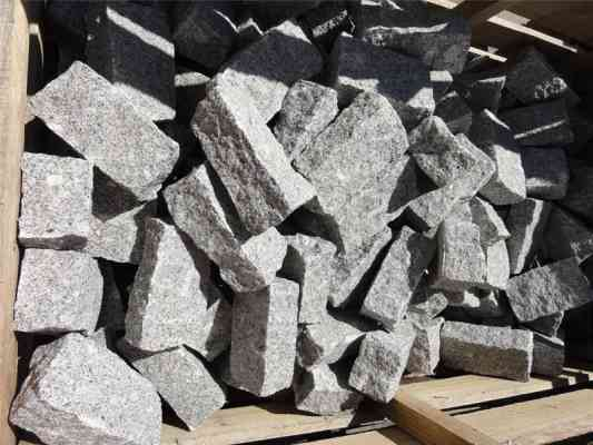 Pavés granit gris 10x20x8 cm